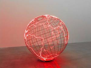 "Hot Spot Mona Hatoum about 10', this neon globe shows that the Middle East is not the only ""Hot Spot""."