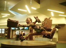 The Flying Traveller Sculpture (artists Patrick Amiot and Brigitte Laurent) at YVR Vancouver International Airport